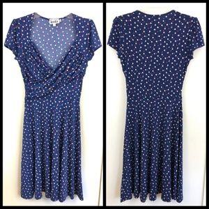 Leota Stitch Fix Blue Polka Dot Jersey Dress - S